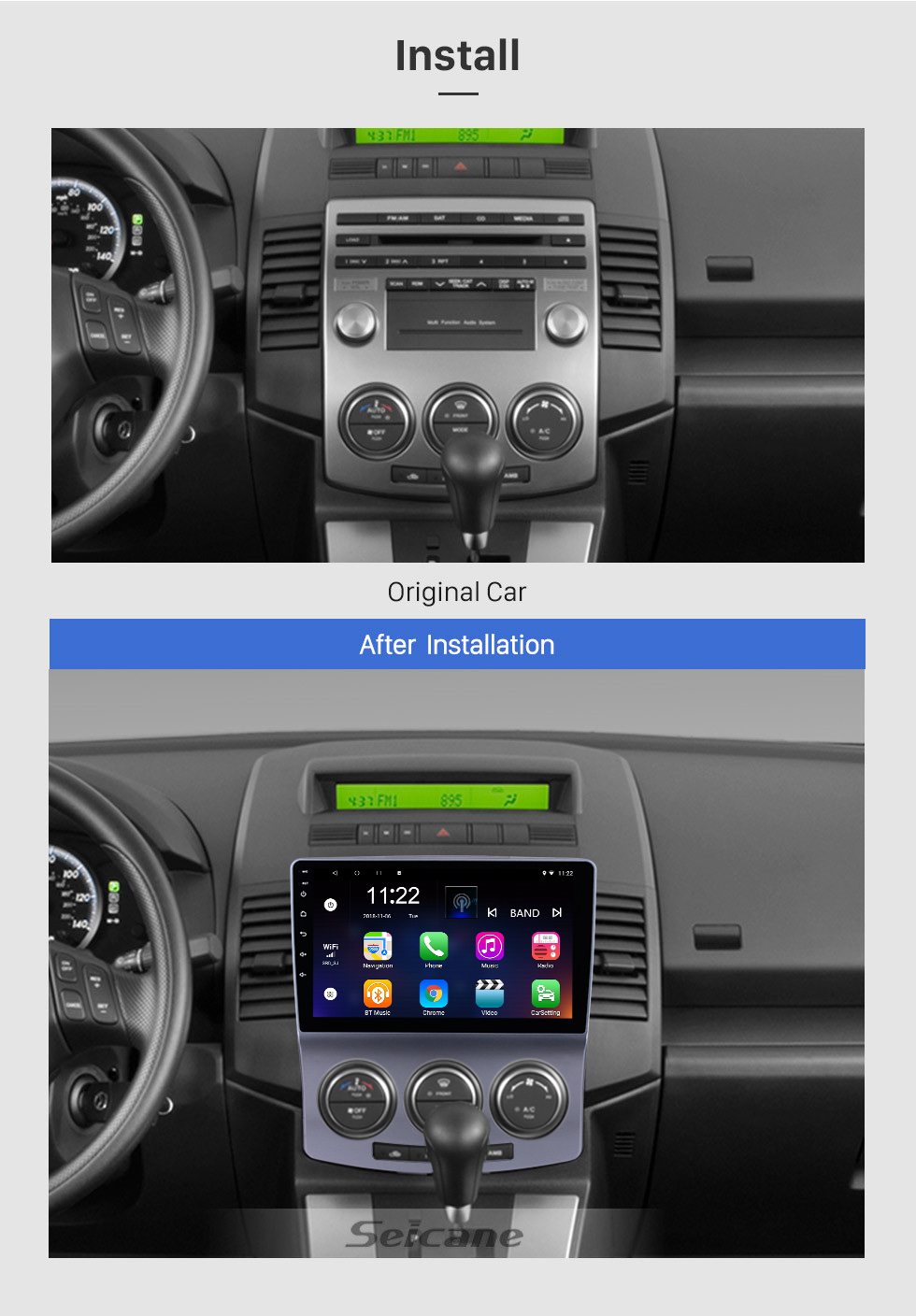 Seicane 2005-2010 Old Mazda 5 Android 8.1 GPS Navigation Radio 9 inch HD Touchscreen with Bluetooth USB WIFI support Carplay OBD2 DAB+ Mirror Link