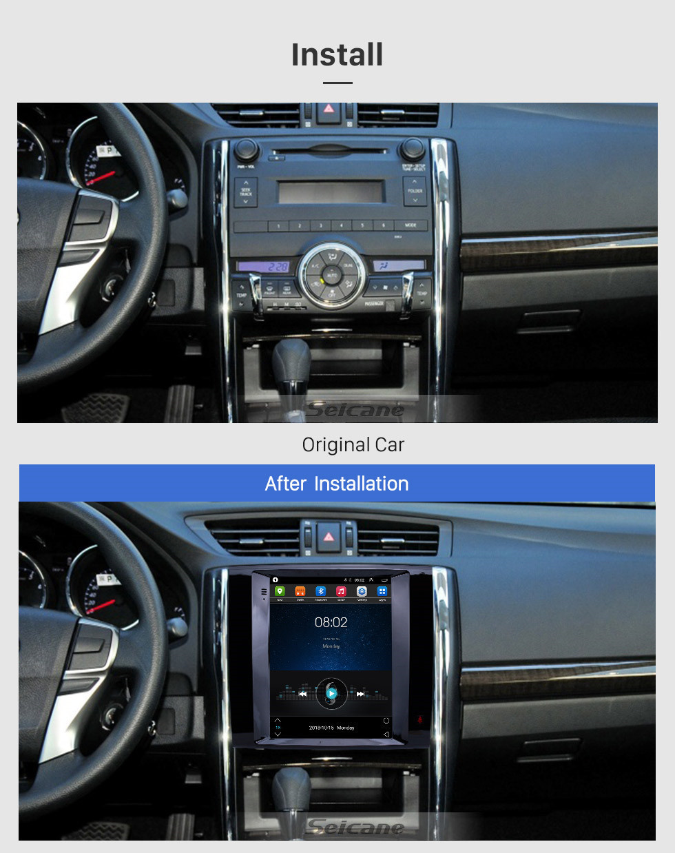 Seicane 9.7 inch Android 9.1 2013 Toyota Reiz GPS Navigation Radio with HD Touchscreen Bluetooth Music support Carplay Mirror Link