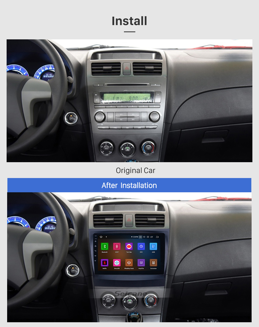 Seicane OEM 9 pouces Android 9.0 pour 2014-2015 BYD L3 Bluetooth HD à écran tactile GPS Navigation Radio support Carplay 1080 P TPMS