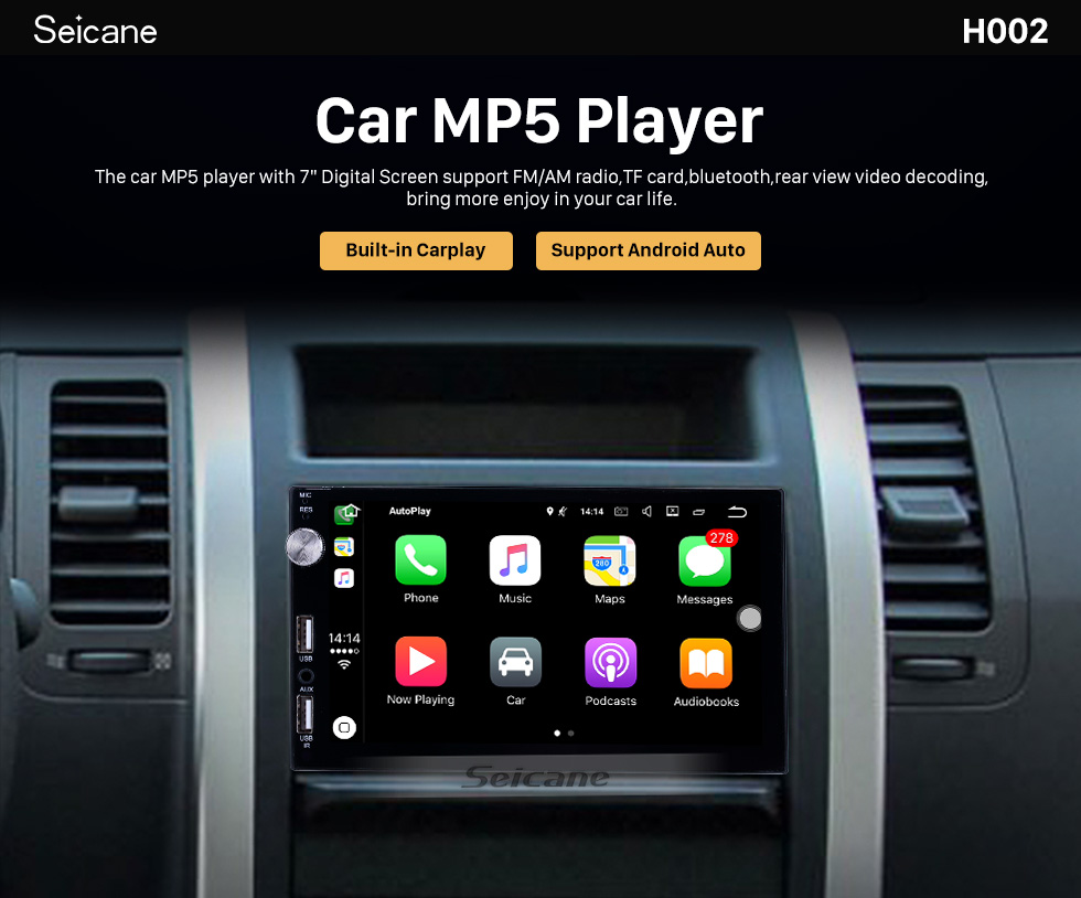 Seicane Plug and Play Carplay MP5 Player Touchscreen Radio Bluetooth Music receiver Support IOS IPhone Siri Microphone voice control Backup camera Steering Wheel Control