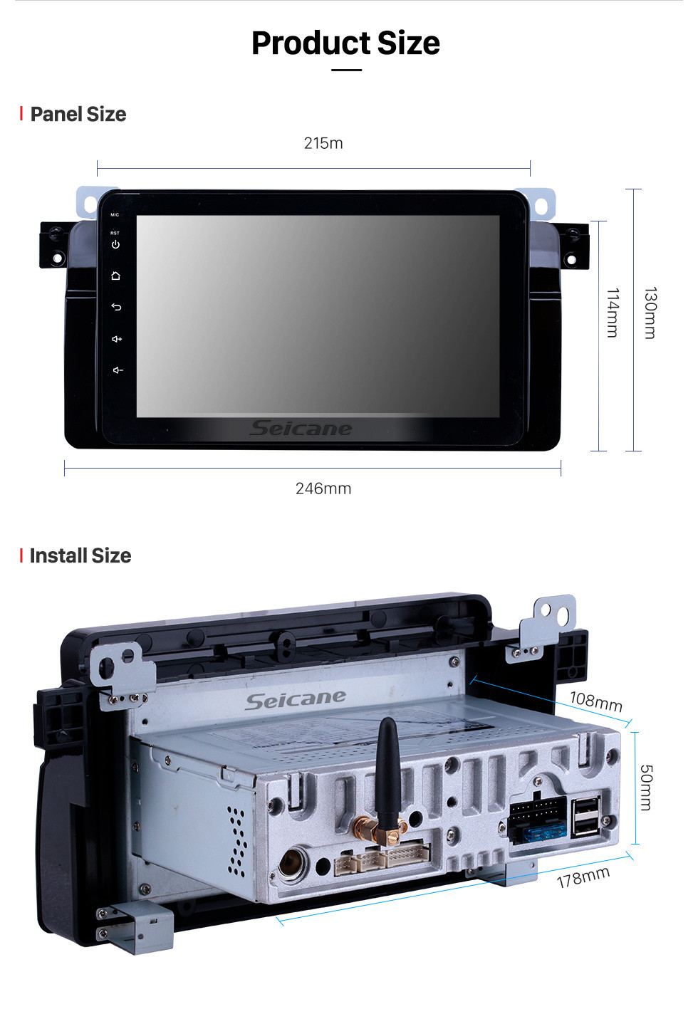 Seicane HD Touchscreen 8 inch Android 9.0 GPS Navigation Radio for 1998-2006 BMW 3 Series E46 M3/2001-2004 MG ZT/1999-2004 Rover 75 with Carplay Bluetooth support TPMS