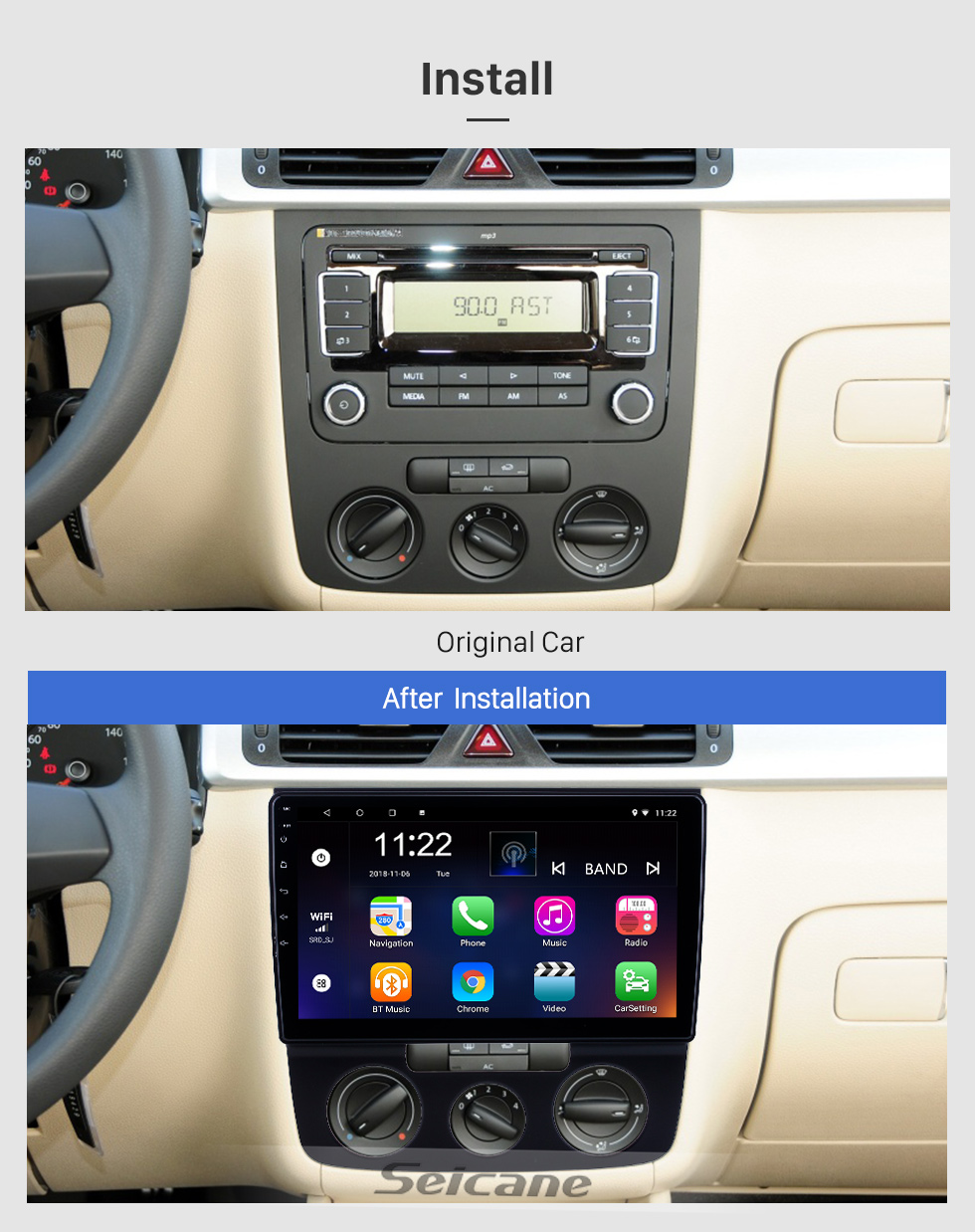Seicane 10.1 inch Android 8.1 GPS Navigation Radio for 2006-2010 VW Volkswagen Bora Manual A/C With HD Touchscreen Bluetooth support Carplay Rear camera