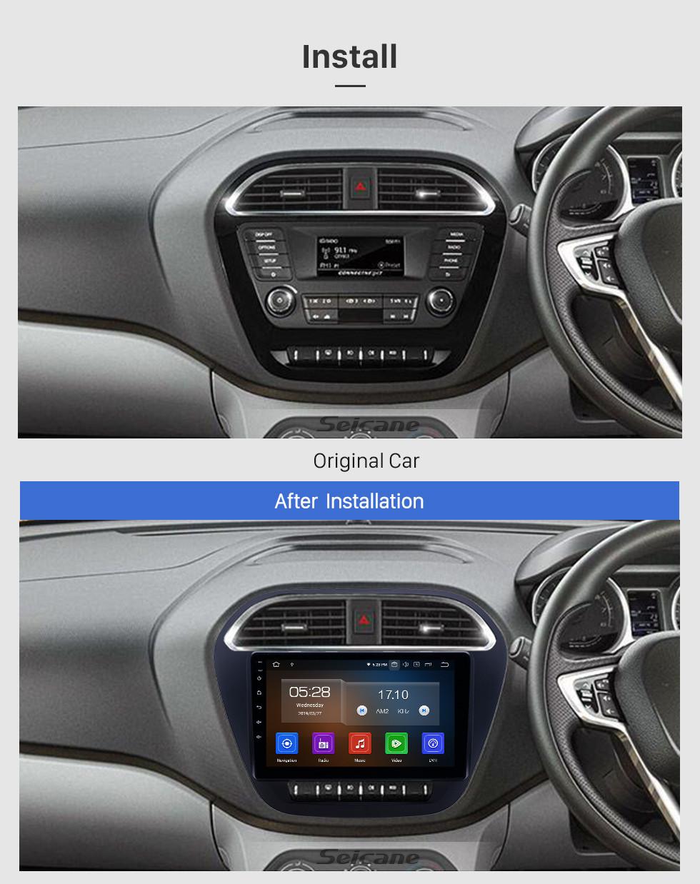 Seicane Pantalla táctil HD 2019 Tiago Nexon Android 9.0 Radio de navegación GPS de 9 pulgadas Bluetooth AUX Carplay compatible Cámara trasera DAB + OBD2