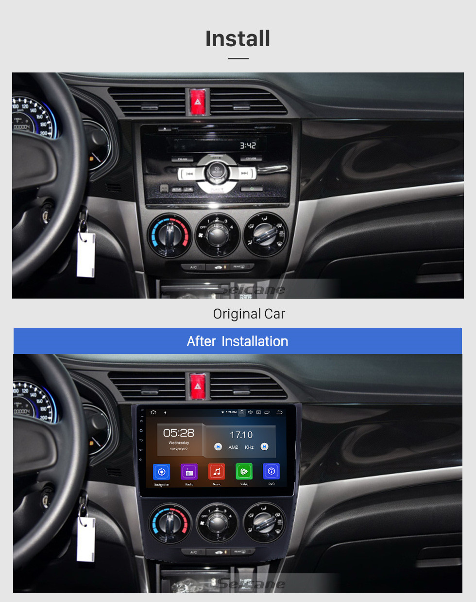 Seicane 10.1 inch Android 9.0 GPS Navigation Radio for 2013-2019 Honda Crider Manual A/C with HD Touchscreen Carplay Bluetooth support 1080P