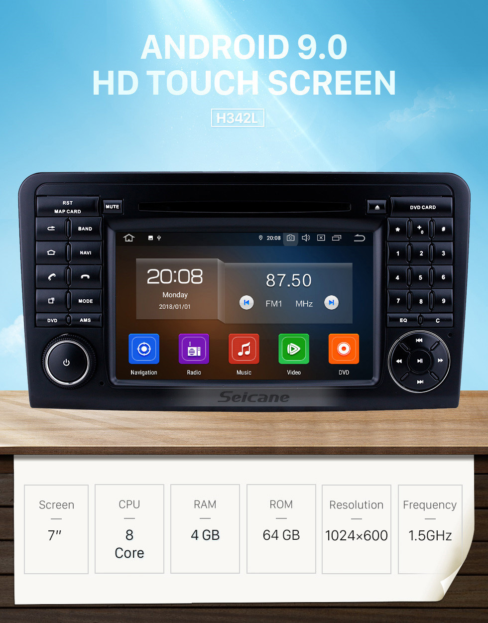 Seicane HD Touchscreen 7 inch Android 9.0 GPS Navigation Radio for 2005-2012 Mercedes Benz ML CLASS W164 ML350 ML430 ML450 ML500 with Carplay Bluetooth support DAB+