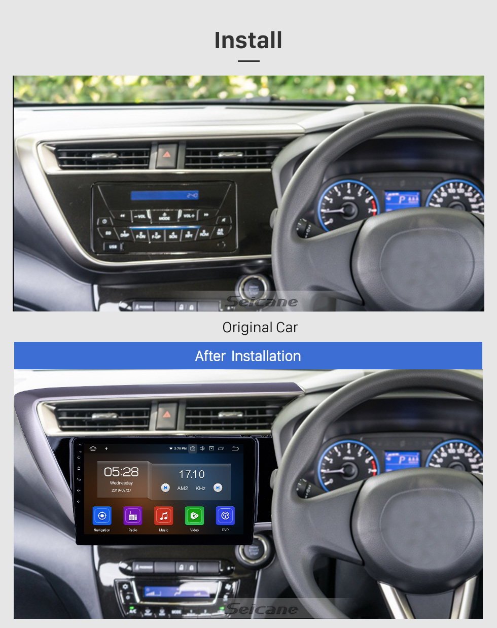 Seicane 10.1 inch 2018 Proton Myvi Android 9.0 GPS Navigation Radio Bluetooth HD Touchscreen WIFI USB Carplay support Mirror Link