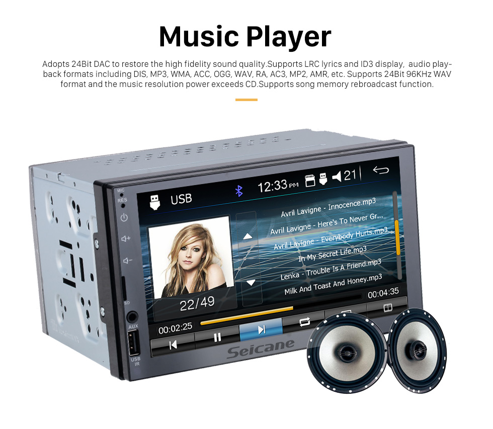 Seicane 7 inch Touchscreen MP5 Player Mirror Link Music Bluetooth Radio for universal support Steering Wheel Control Rearview camera