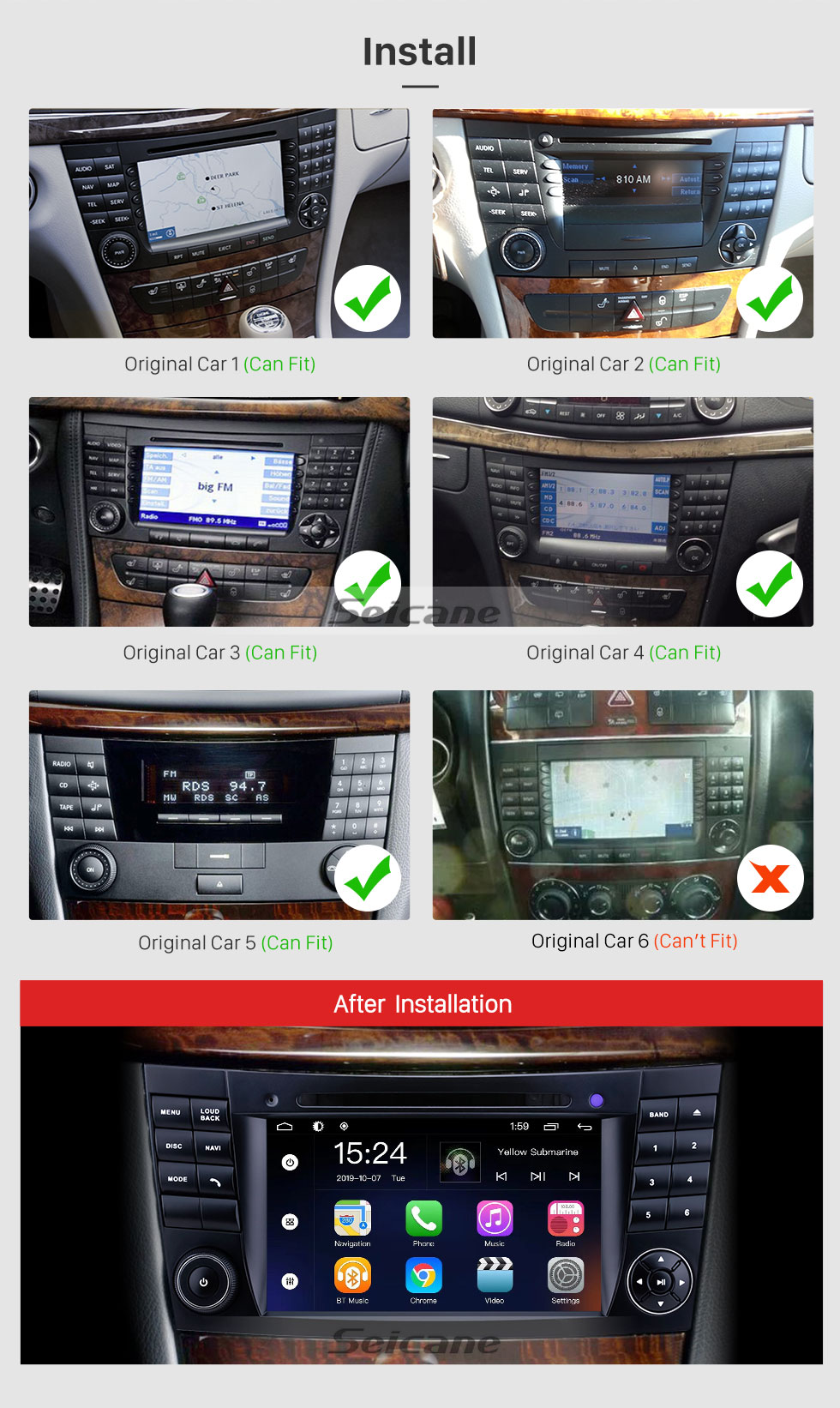 Seicane For 2001 2002 2003-2011 Mercedes Benz E-Class W211/CLK W209/G-Class W463/CLS W219 Radio 7 inch Android 9.0 GPS Navigation System with HD Touchscreen Bluetooth support Carplay