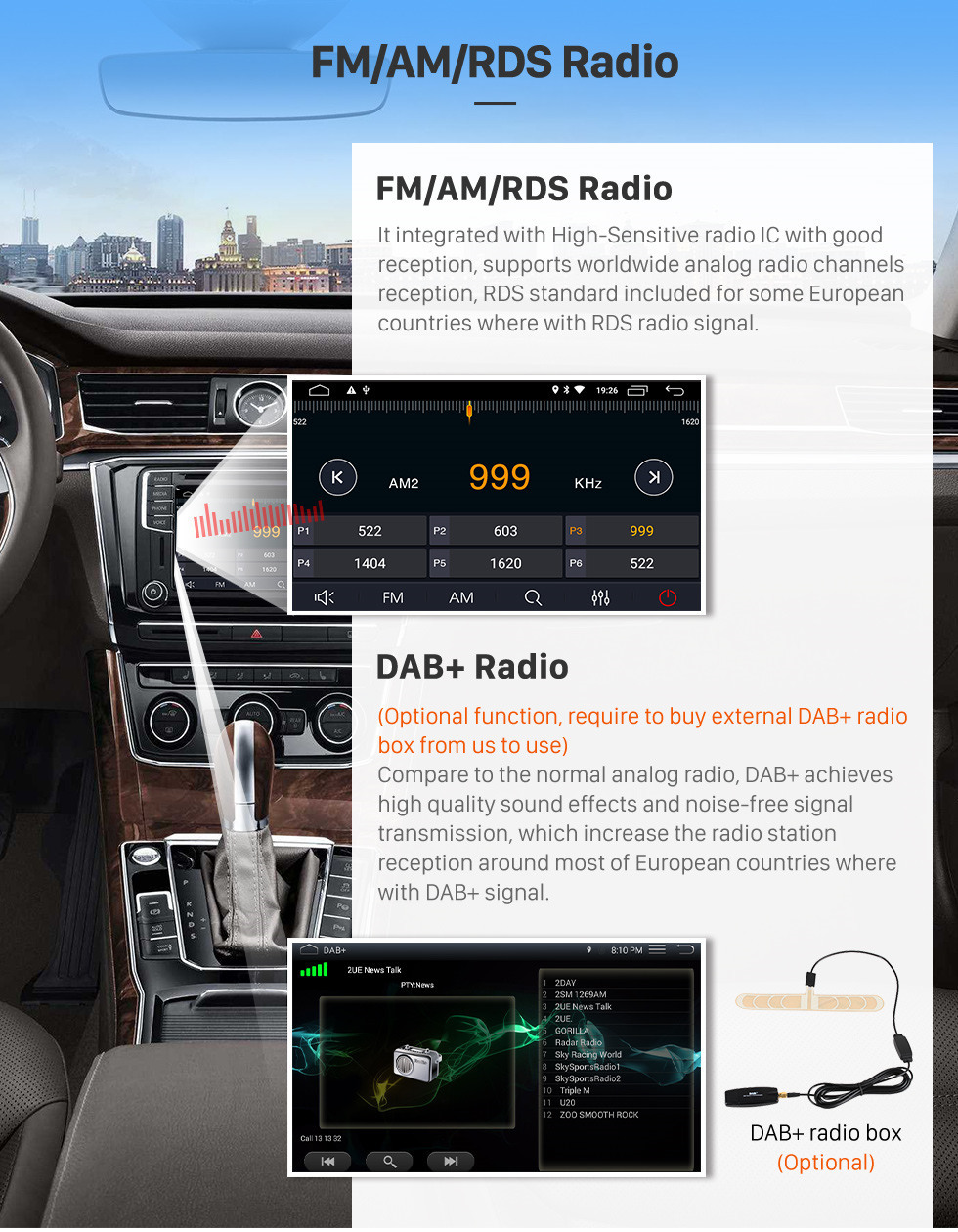 Seicane Android 9.0 6.2 inch for Universal Radio GPS Navigation System with HD Touchscreen Bluetooth AUX WIFI support Carplay DVR OBD2