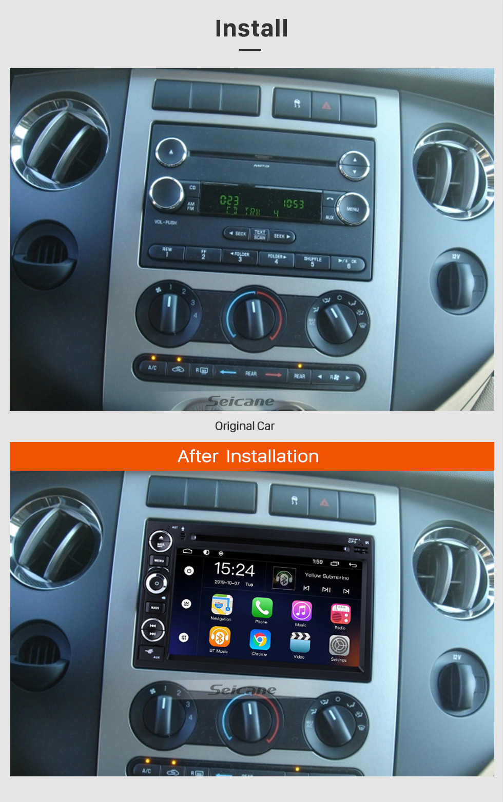 Seicane OEM 7 inch Android 9.0 Radio GPS navigation system for 2005-2009 Ford Mustang with Bluetooth DVD player HD 1024*600 touch screen OBD2 DVR Rearview camera TV 1080P Video USB SD 3G WIFI Steering Wheel Control