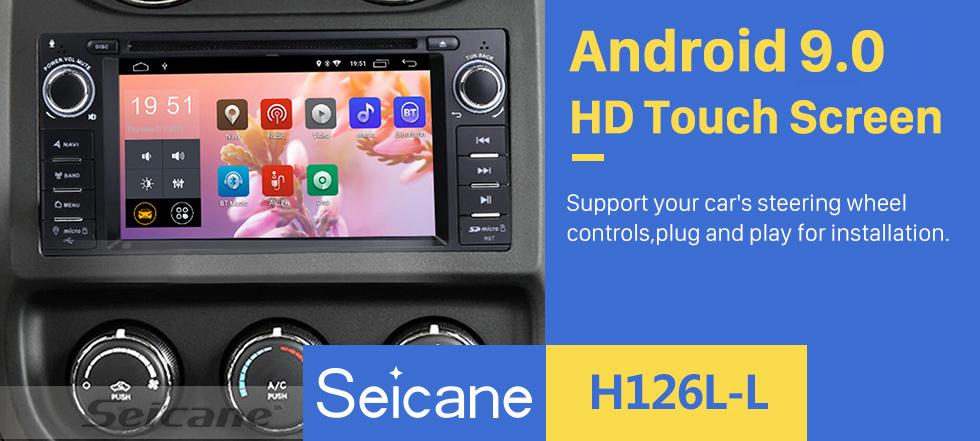 Seicane No painel 2007-2013 Jeep Wrangler ilimitado Atualização de rádio de 7 polegadas com Android 9.0 DVD Player Bluetooth Navegação GPS Sistema de áudio do carro Tela sensível ao toque Wi-Fi 3G Link de espelho 3G OBD2 Câmera de backup DVR AUX