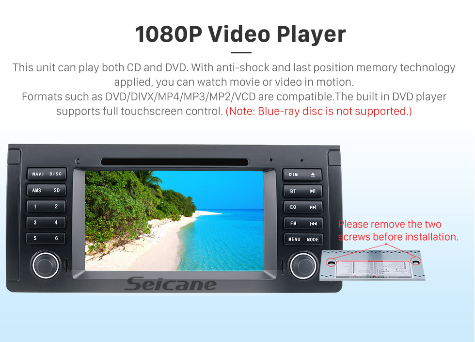 Seicane 7 inch Android 9.0 Muti-touch Screen autoradio DVD Player for 2000-2007 BMW X5 E53 3.0i 3.0d 4.4i 4.6is 4.8is 1996-2003 BMW 5 Series E39 with GPS Navigation Audio system Canbus Bluetooth WIFI Mirror Link USB 1080P DVR