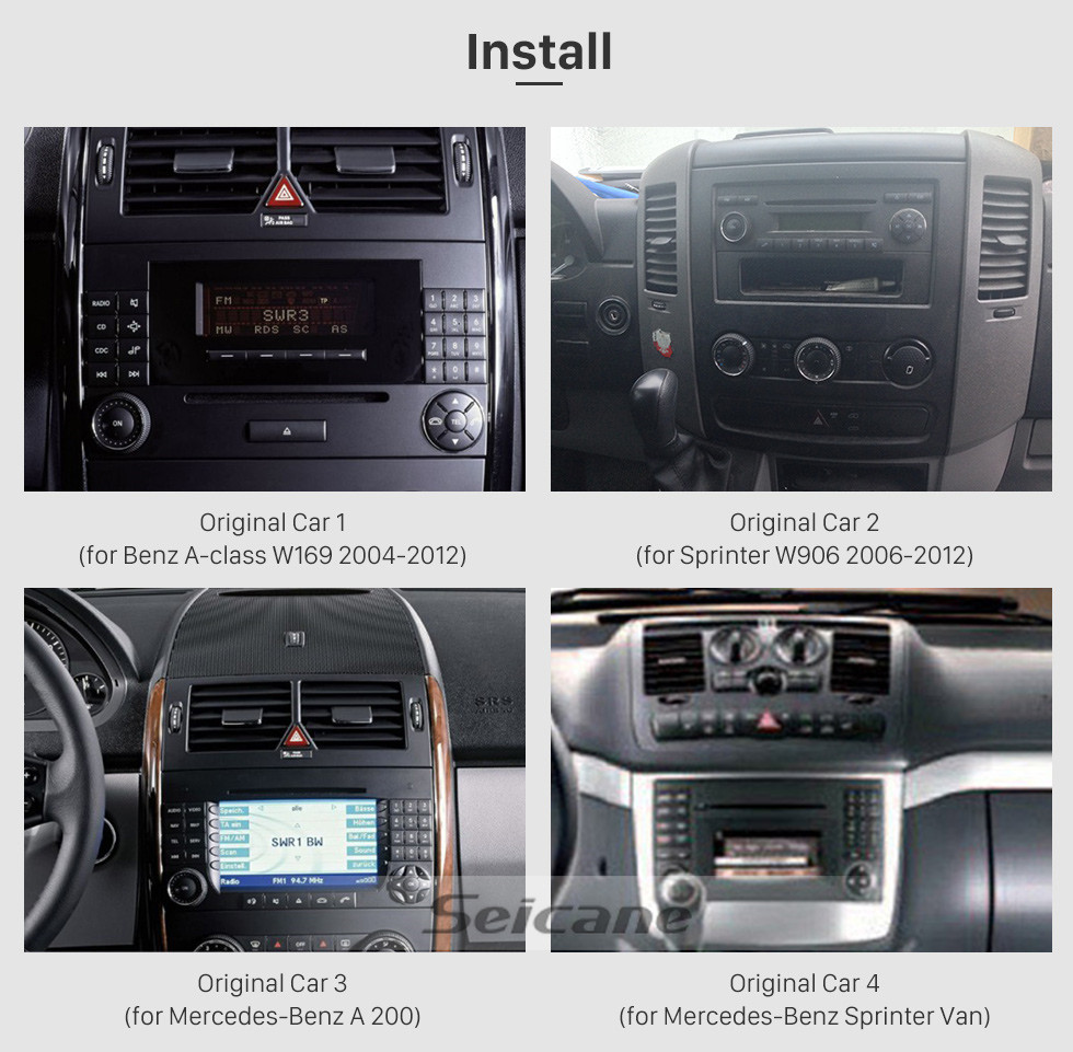 Seicane Android 9.0 Radio Head Unit 7 Inch HD Touchscreen For 2004-2012 Mercedes Benz B Class W245 B200 C Class W203 S203 C180 C200 CLK Class C209 W209 C208 W208 Car Stereo DVD Player GPS Navigation System Music Bluetooth 4G WIFI Support 1080P Video Backup Camera
