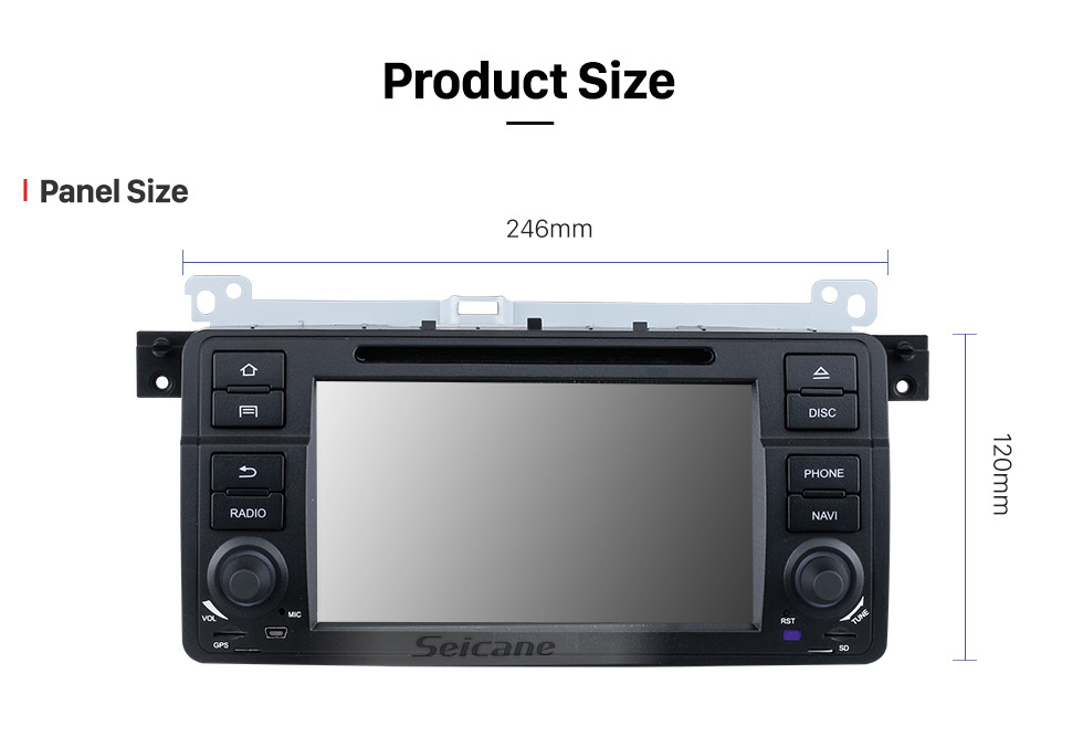 Seicane 7 Inch Android 9.0 In Dash Radio For 2000-2006 BMW 3 Series M3 E46 316i  Rover 75 MG ZT GPS Navigation Car DVD Player Audio system Bluetooth Radio Music Support Mirror Link 3G WiFi DAB+