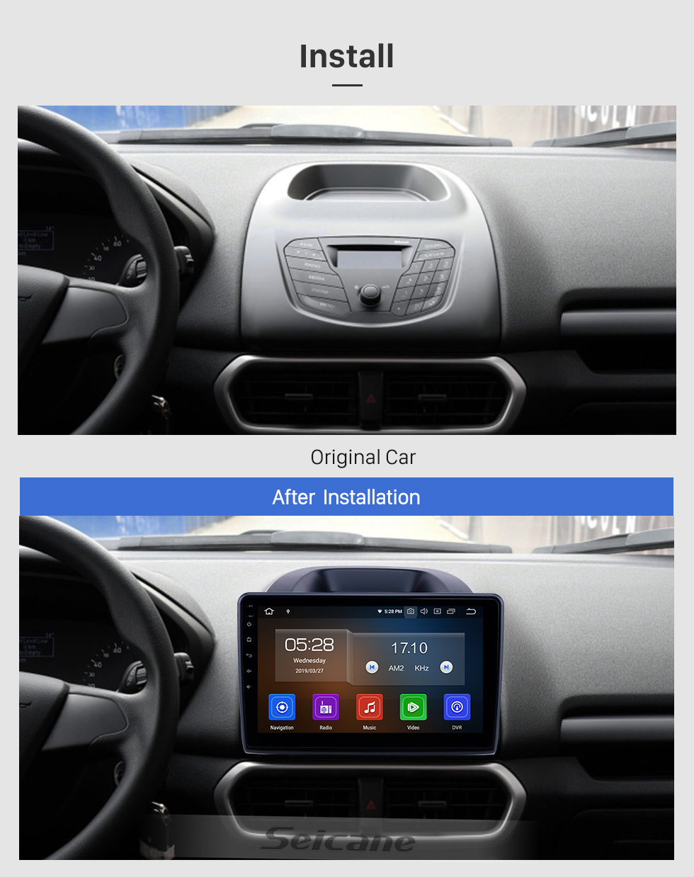 Seicane 10.1 inch Android 9.0 GPS Navigation Radio for 2018-2019 Ford Ecosport Bluetooth HD Touchscreen Carplay support DVR SWC