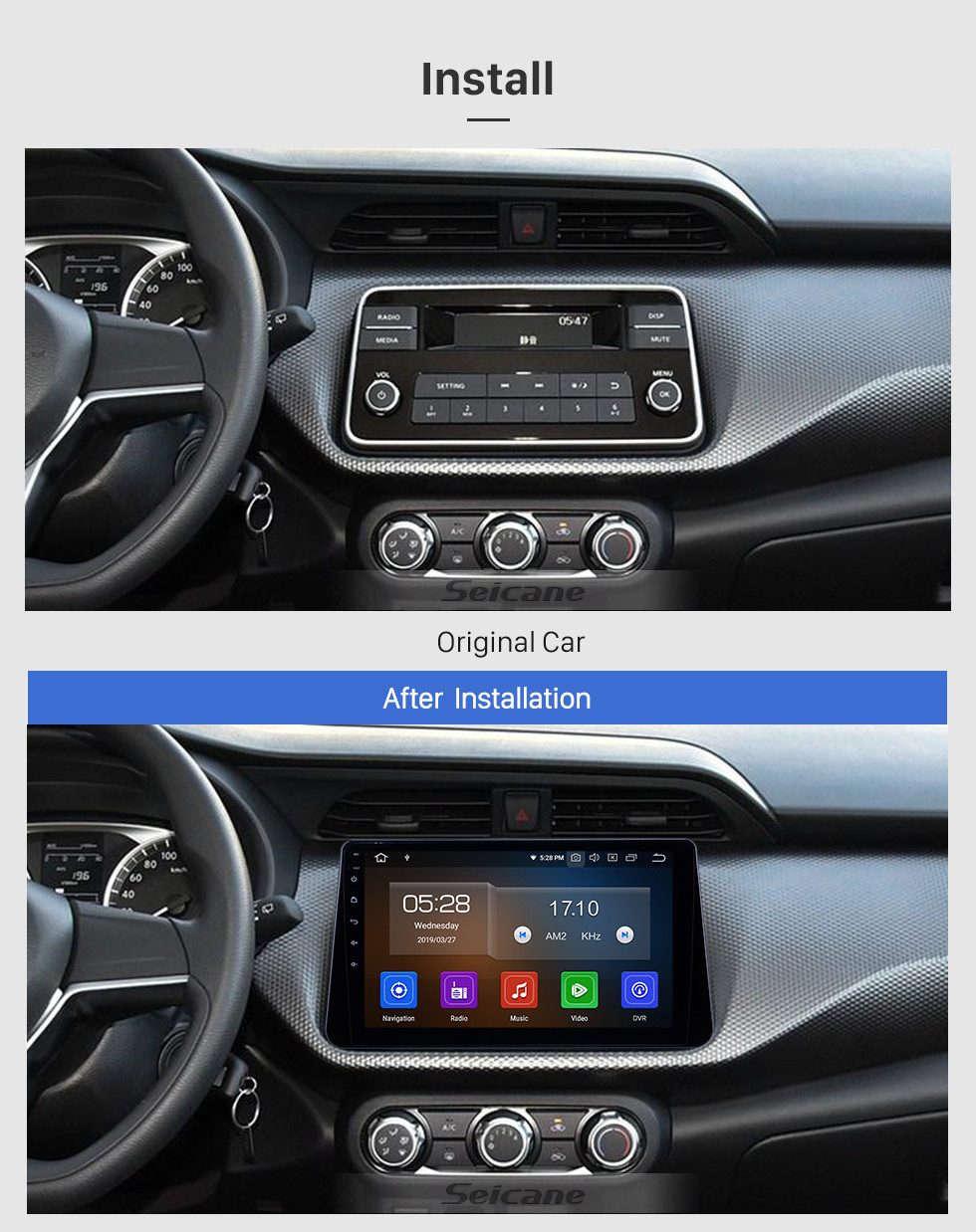 Seicane 10,1 Zoll Android 9.0 Radio für 2017-2019 Nissan Kicks mit Bluetooth HD Touchscreen GPS-Navigation Carplay-Unterstützung Digital-TV