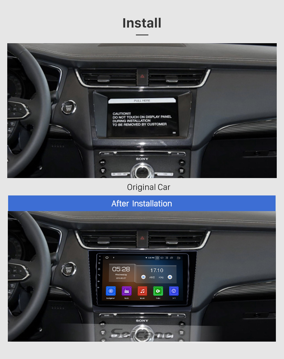 Seicane 2015-2018 Ford Taurus Android 9.0 9 Zoll GPS Navigationsradio Bluetooth HD Touchscreen USB Carplay Unterstützung DVR DAB + OBD2 SWC