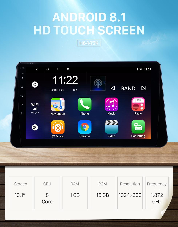 Seicane 10,1 pouces Android 8.1 Radio de navigation GPS pour 2017-2019 Nissan Kicks Avec HD tactile Bluetooth prend en charge Carplay TPMS