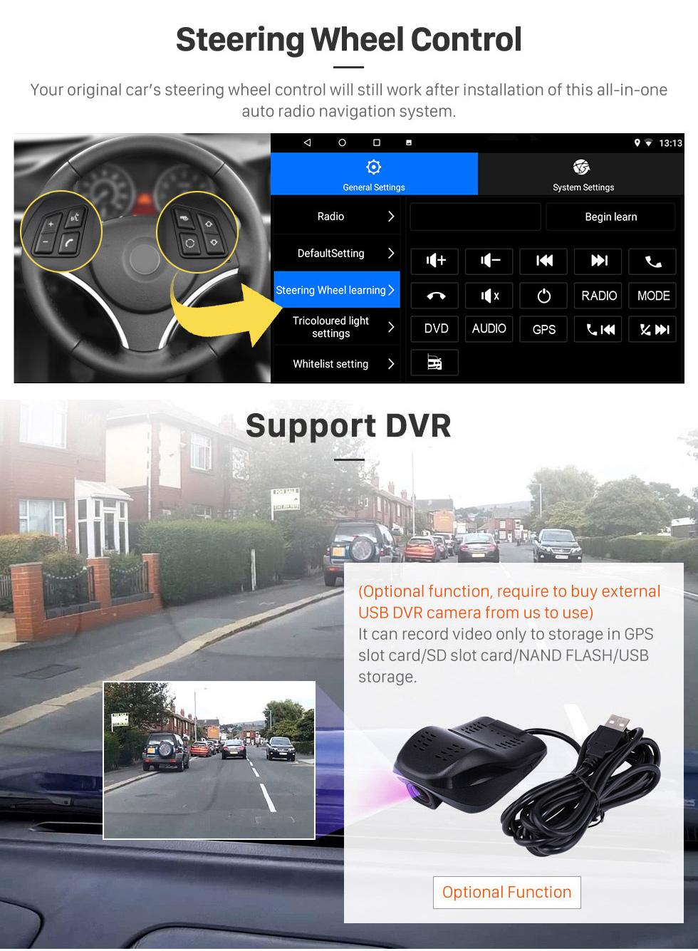 Seicane 10,1 pouces HD Android 8.1 avec écran tactile et radio de navigation GPS pour Buick Excelle 2008-2018 avec le support Bluetooth Carplay DVR