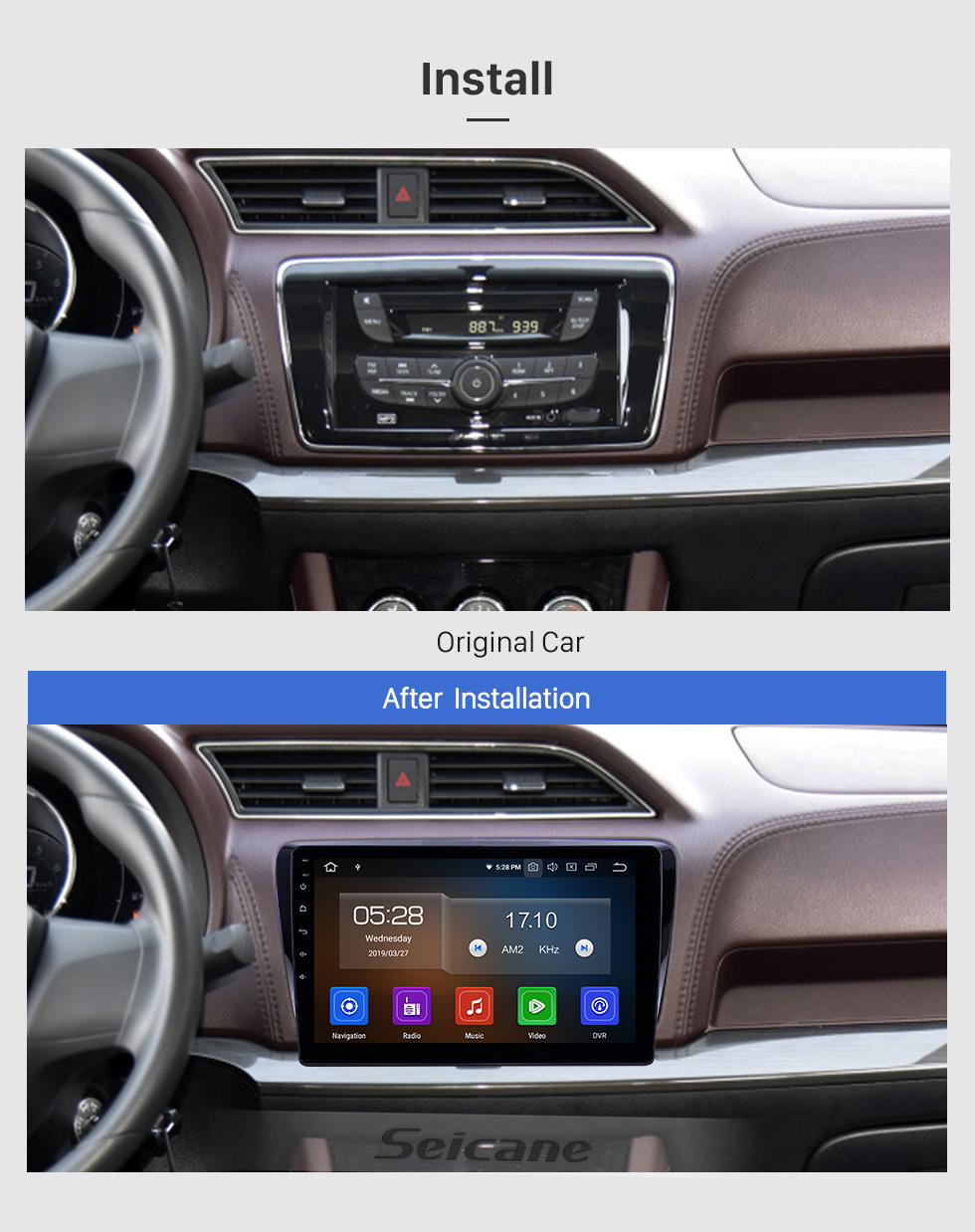 Seicane 10.1 pouces 2017-2019 Venucia M50V Android 9.0 Navigation Radio Radio Bluetooth HD Écran Tactile support Carplay Miroir Lien