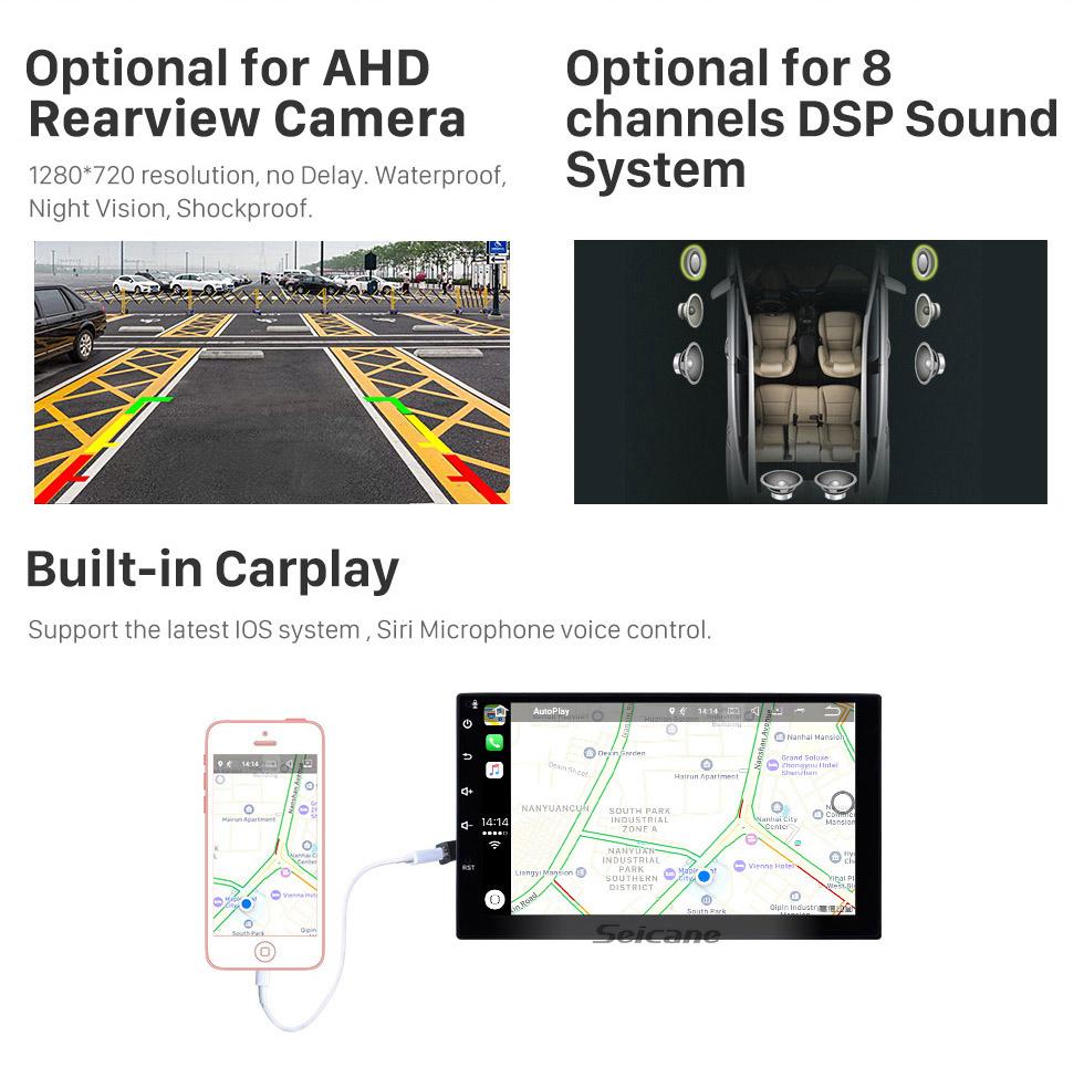 Seicane 7 pouces Android 9.0 HD Écran tactile Radio de navigation GPS universelle avec prise en charge de Bluetooth WIFI 1080P Contrôle du volant vidéo