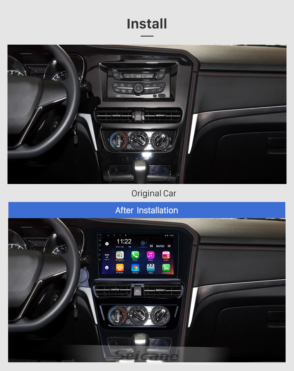 Seicane Android 8.1 Radio de navegación GPS con pantalla táctil HD de 10.1 pulgadas para la versión baja Venucia T70 2018-2019 con soporte Bluetooth Carplay DVR