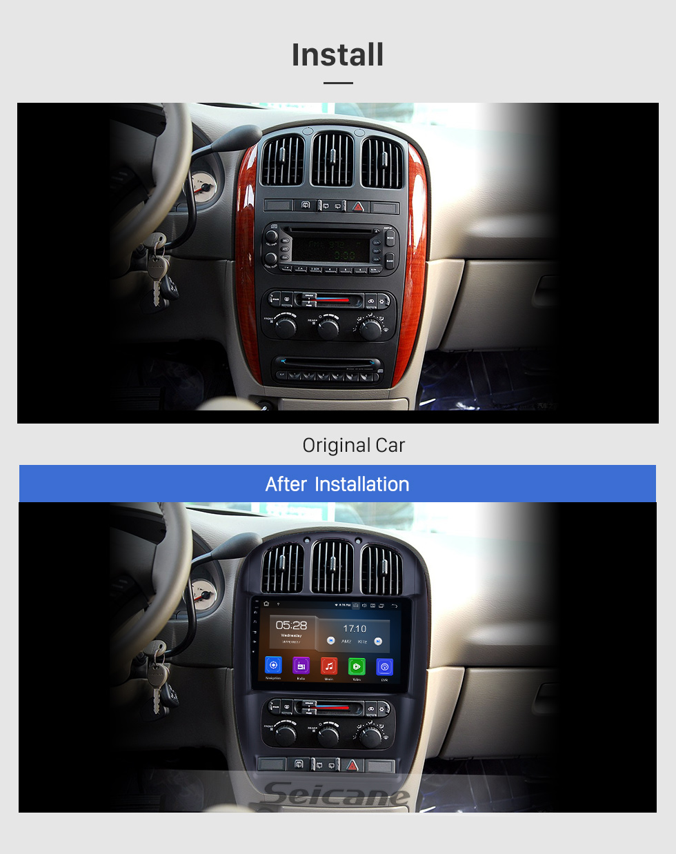 Seicane 10.1 inch For 2006-2010 2011 2012 Chrysler Pacifica Radio Android 9.0 GPS Navigation System Bluetooth HD Touchscreen Carplay support Digital TV