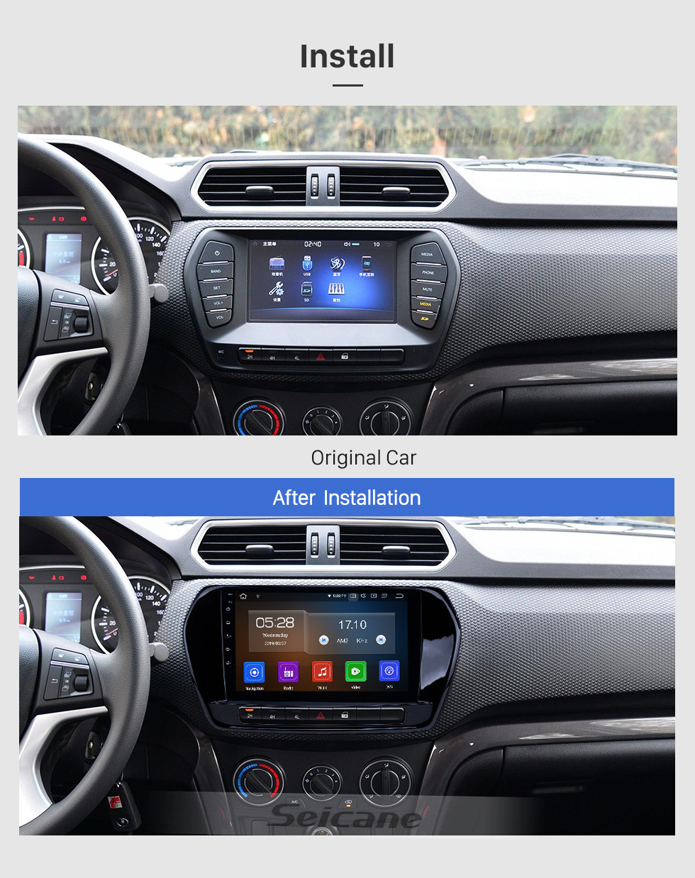 Seicane Pantalla táctil HD 2011-2015 Great Wall Wingle 5 Android 9.0 9 pulgadas Radio de navegación GPS Bluetooth AUX Carplay compatible Cámara trasera