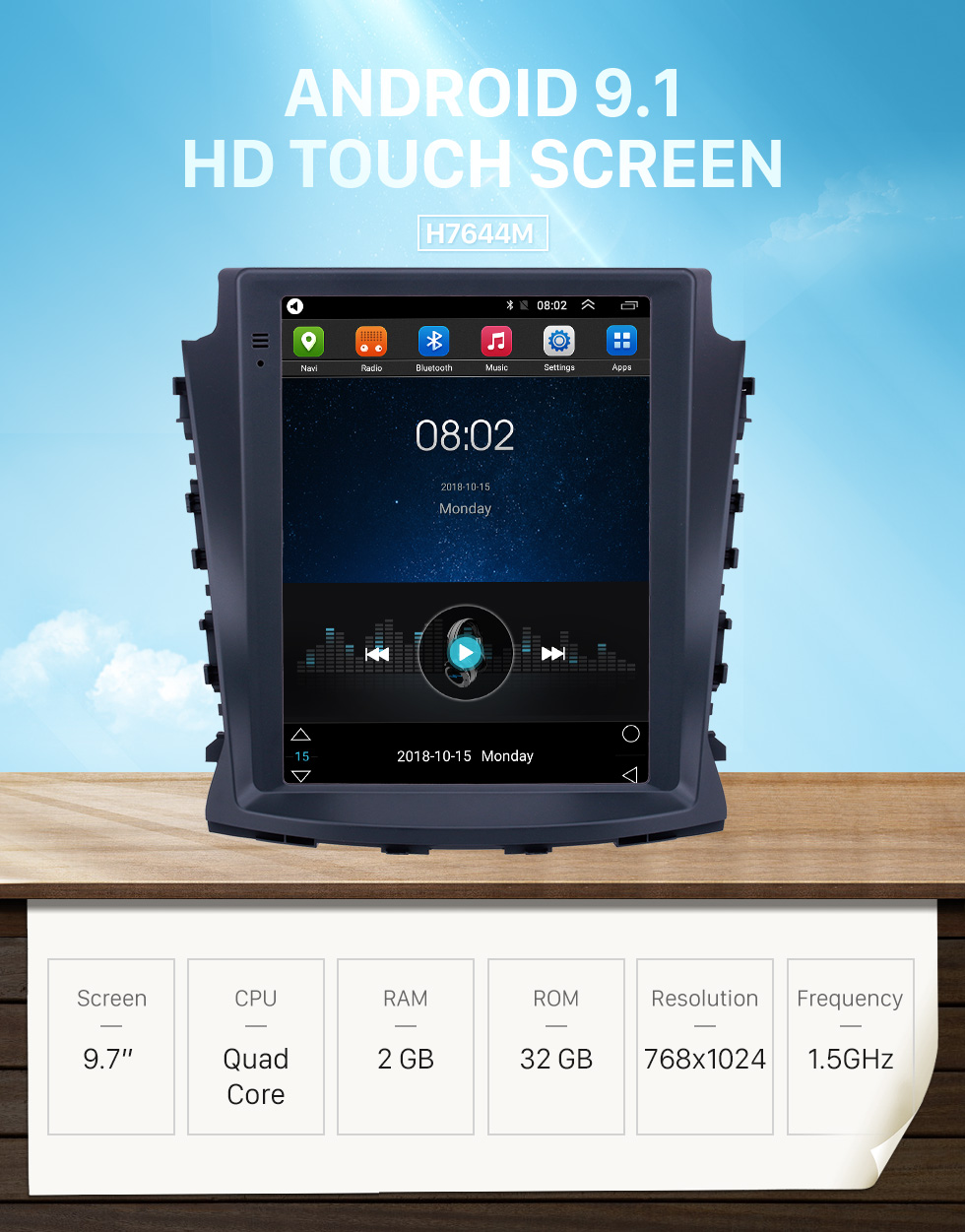 Seicane 2017 Changan CS75 9.7 inch Android 9.1 GPS Navigation Radio with HD Touchscreen Bluetooth WIFI support Carplay Rear camera