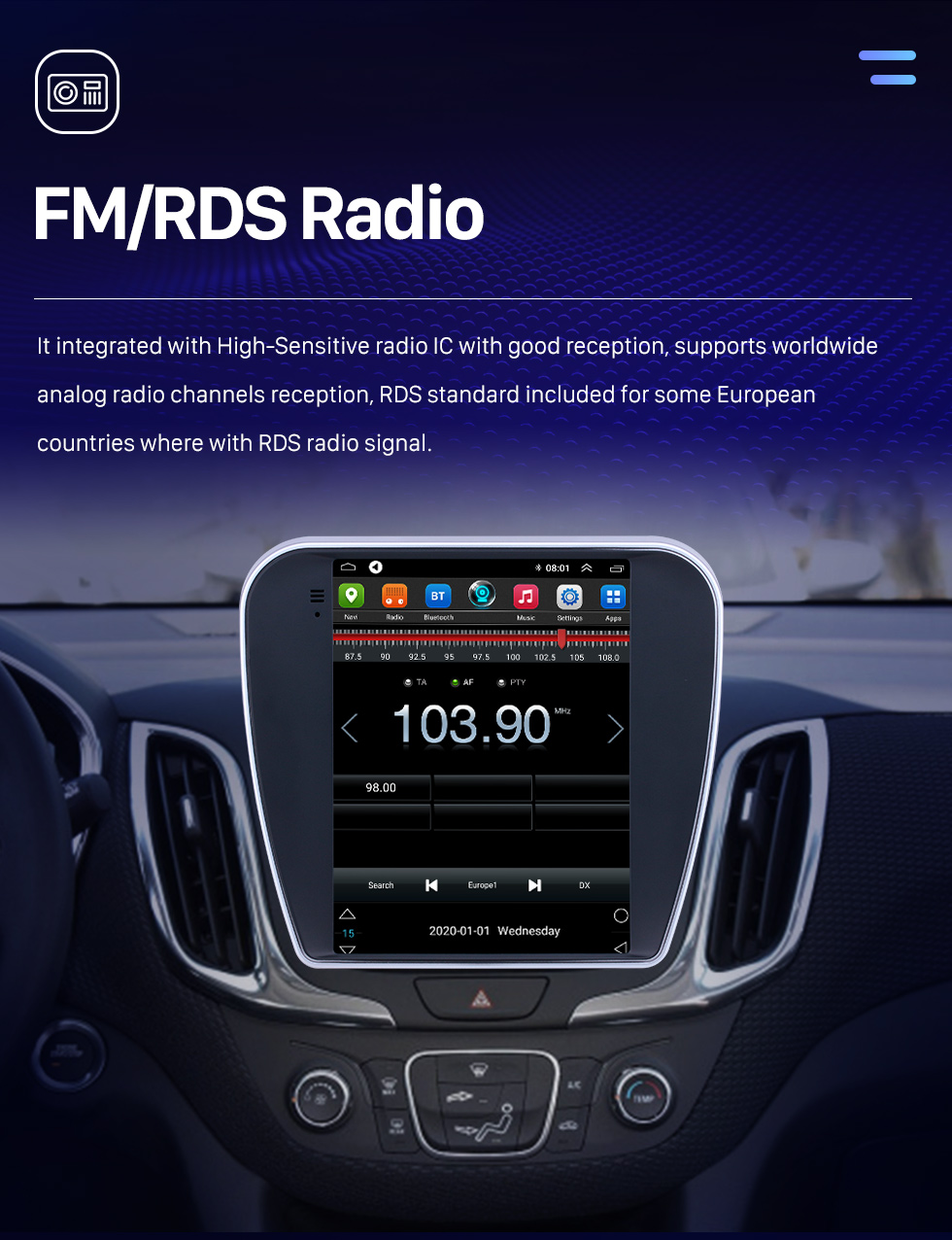 Seicane Android 9.1 9.7 pouces Radio de navigation GPS pour 2017 Chevrolet Equinox de Chevrolet avec HD écran tactile Bluetooth support Carplay DVR OBD2