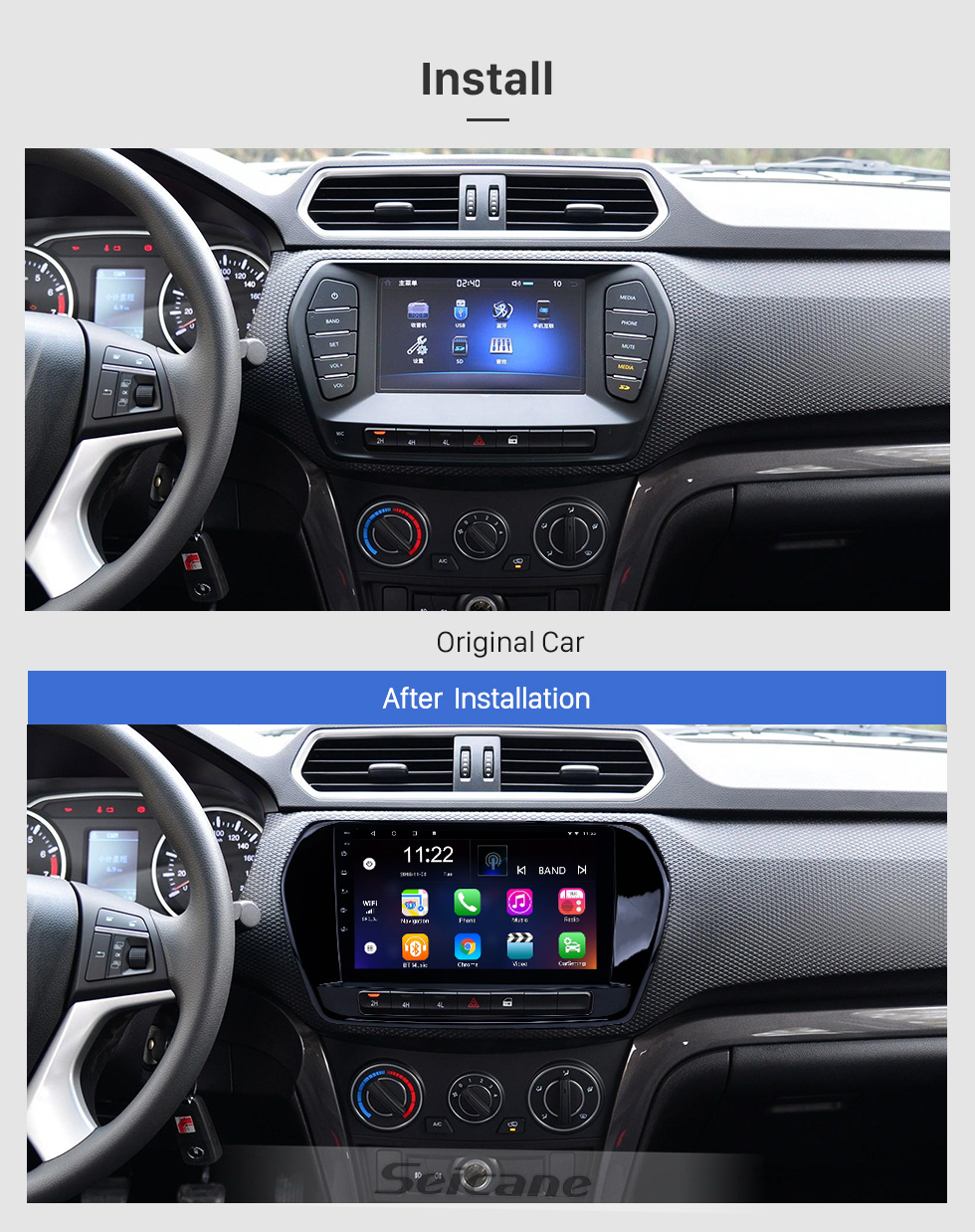 Seicane Android 8.1 9 pouces HD radio à navigation tactile GPS Navigation pour 2011-2015 Great Wall Wingle 5 avec support Bluetooth Carplay DVR OBD2