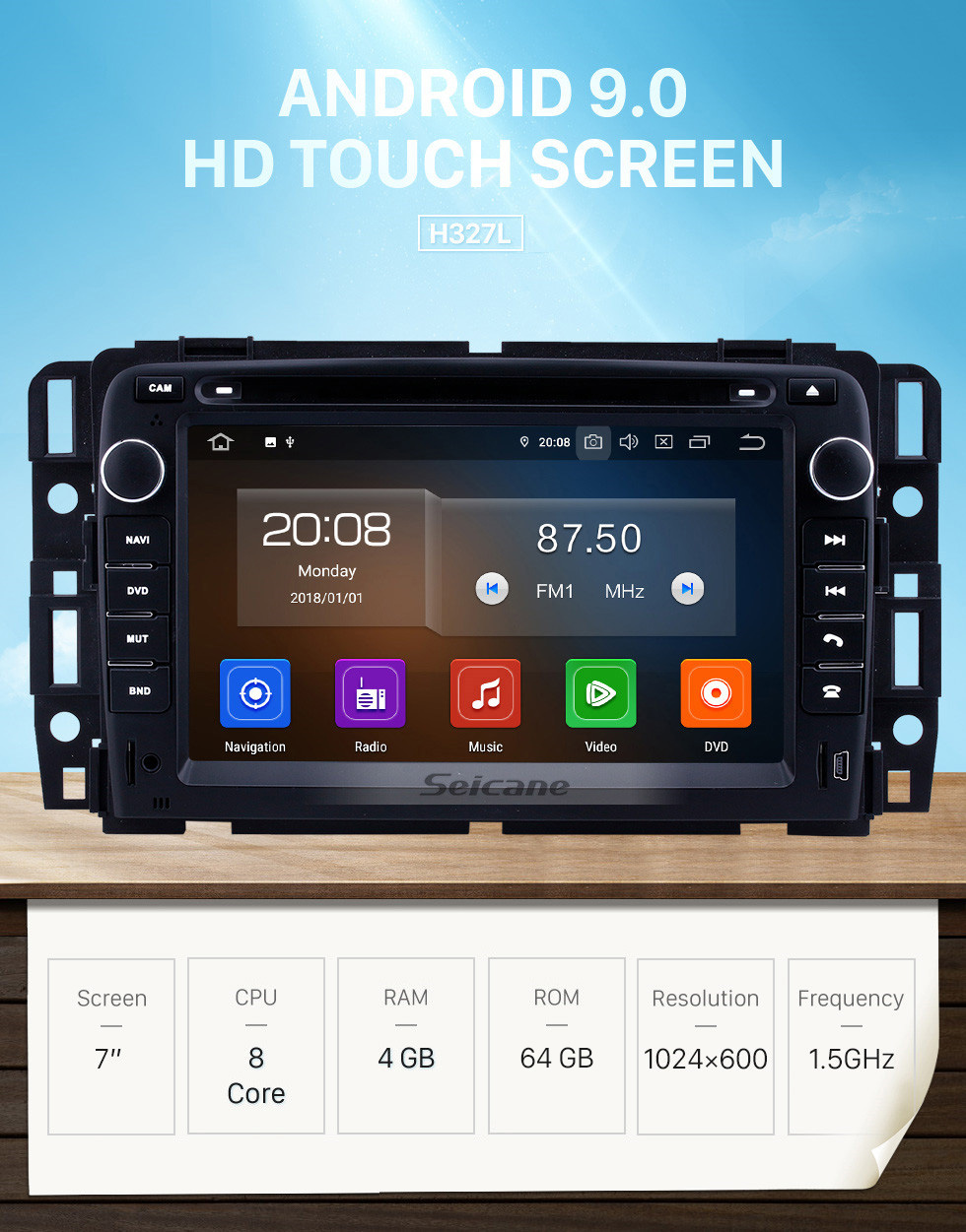 Seicane 7 inch For 2007 2008 2009-2012 General GMC Yukon/Chevy Chevrolet Tahoe/Buick Enclave/Hummer H2 Radio Android 9.0 GPS Navigation System Bluetooth HD Touchscreen Carplay support DAB+