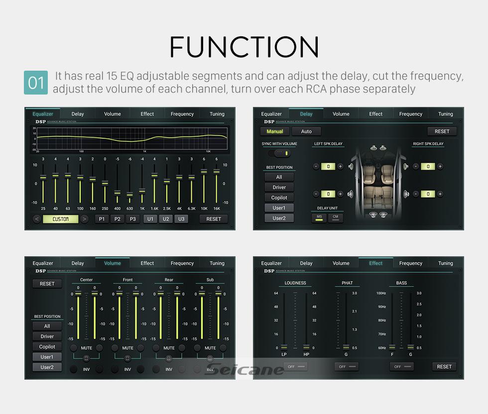 Seicane Sistema de sonido de audio para el automóvil DSP para equipos de sonido de la serie H2 H3 con 8 salidas RCA reales 15 segmentos ajustables de ecualización 3 tipos de modo cruzado