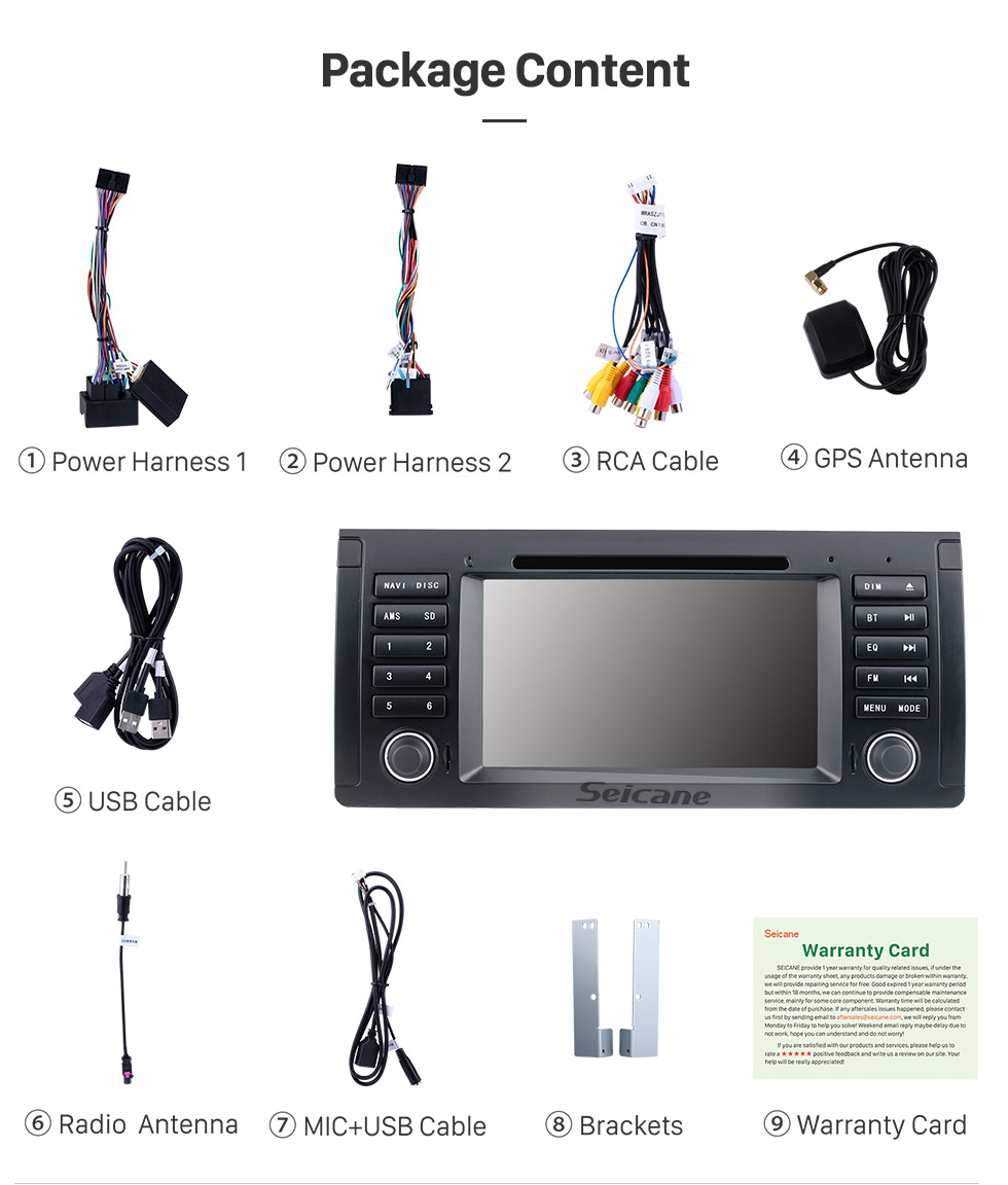 Seicane 7 inch for 2000-2007 BMW X5 E53 3.0i 3.0d 4.4i 4.6is 4.8is 1996-2003 BMW 5 Series E39 radio with GPS Navigation Android 9.0 HD touch Screen Bluetooth WIFI Rearview camera