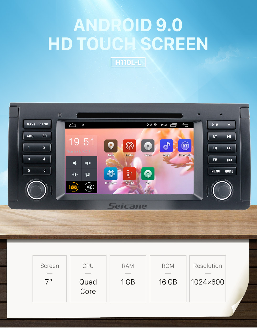 Seicane 7 polegadas para 2000-2007 BMW X5 E53 3.0i 3.0d 4.4i 4.6is 4.8is 1996-2003 BMW 5 Série E39 rádio com navegação GPS Android 9.0 HD Tela sensível ao toque Bluetooth WIFI Câmera retrovisora