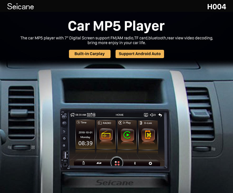 Seicane Plug and Play Carplay Bluetooth Music MP5 Player Touchscreen Radio receiver Support IOS IPhone Siri Microphone voice control Steering Wheel Control Rearview camera