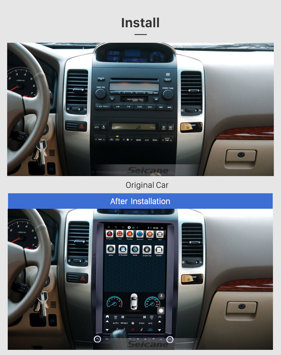 Seicane 13.6 inch Android 9.1 for 2002 2003 2004-2010 Toyota Pardo Radio GPS Navigation with HD Touchscreen Bluetooth support Carplay Mirror Link
