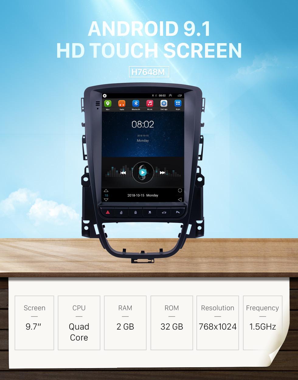 Seicane Pantalla táctil HD 2009 2010 2011-2019 Buick Excelle 2009-2014 Opel / Vauxhall / Astra J Buick / Verano Radio Android 9.1 9.7 pulgadas Navegación GPS Soporte Bluetooth Carplay