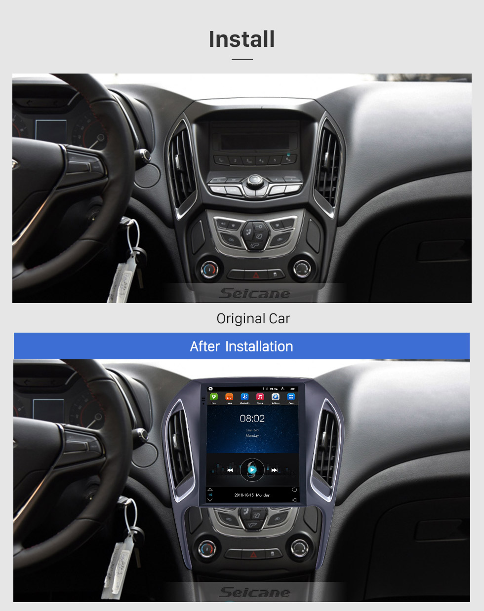 Seicane For 2016 2017 2018 Chery Arrizo 5 Radio 9.7 inch Android 9.1 GPS Navigation with HD Touchscreen Bluetooth support Carplay Rear camera
