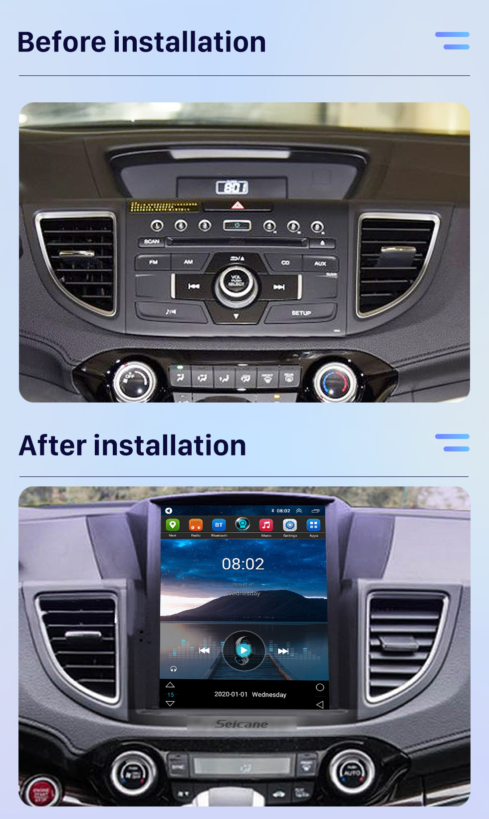 Seicane Android 9.1 9.7 inch for 2012 2013 2014 2015 2016 Honda CRV Radio with HD Touchscreen GPS Navigation System Bluetooth support Carplay TPMS