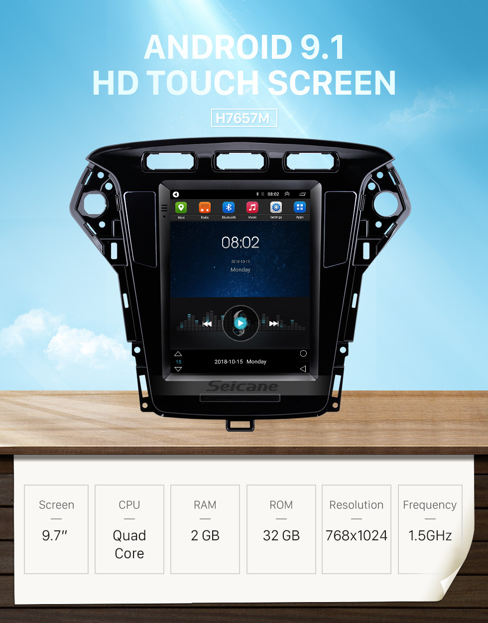 Seicane Android 9.1 9.7 inch for 2011 2012 2013 Ford Mondeo mk4 Radio with GPS Navigation HD Touchscreen Bluetooth support Carplay DVR OBD2
