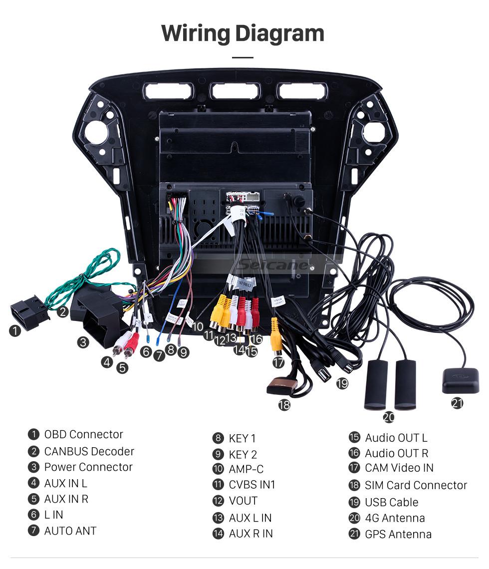 Seicane Android 9.1 9.7 polegadas para 2011 2012 2013 Ford Mondeo mk4 Rádio com navegação GPS HD Touchscreen Bluetooth suporte Carplay DVR OBD2
