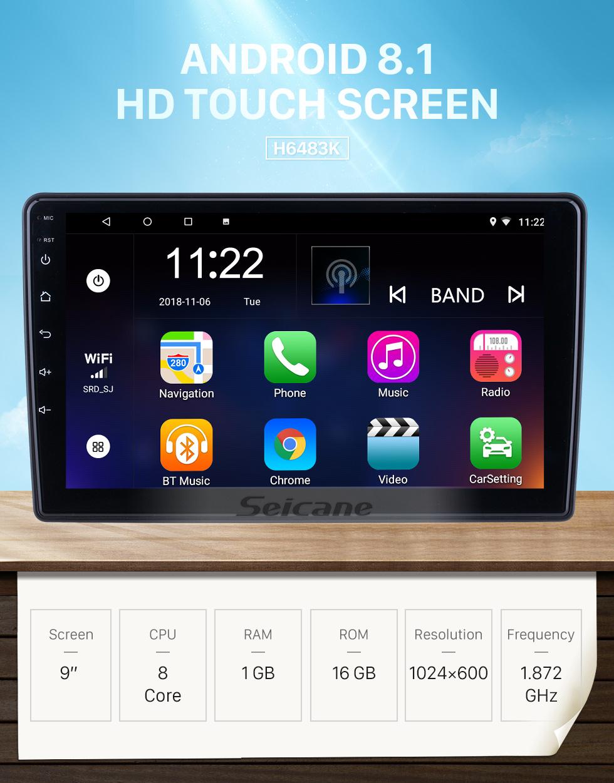 Seicane HD Touchscreen de 9 polegadas para 2015 2016 2017 2018 Citroen Beringo Radio Android 8.1 Navegação GPS com suporte Bluetooth Carplay Câmera traseira
