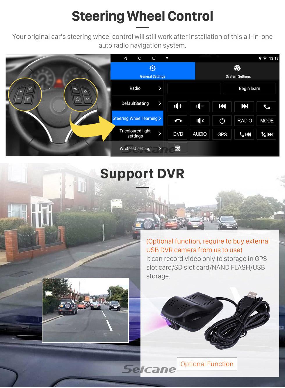 Seicane 10,1 pouces Android 8.1 pour 2002 2003 2004 Radio Mercedes Benz Classe C W203 Radio Navigation avec support HD Bluetooth pour écran tactile Carplay DVR