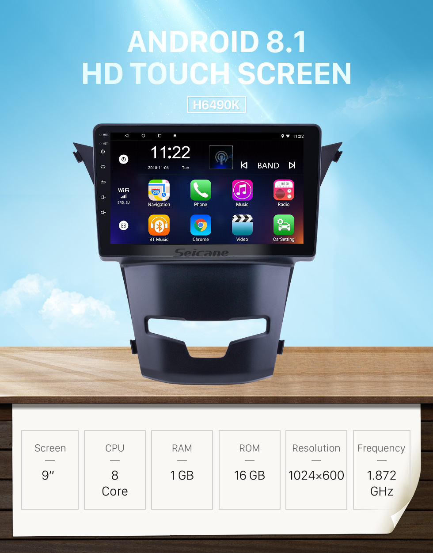 Seicane OEM 9 pouces Android 8.1 pour 2014 2015 2016 SsangYong Korando Radio Bluetooth HD écran tactile GPS Navigation support Carplay DAB + OBD2