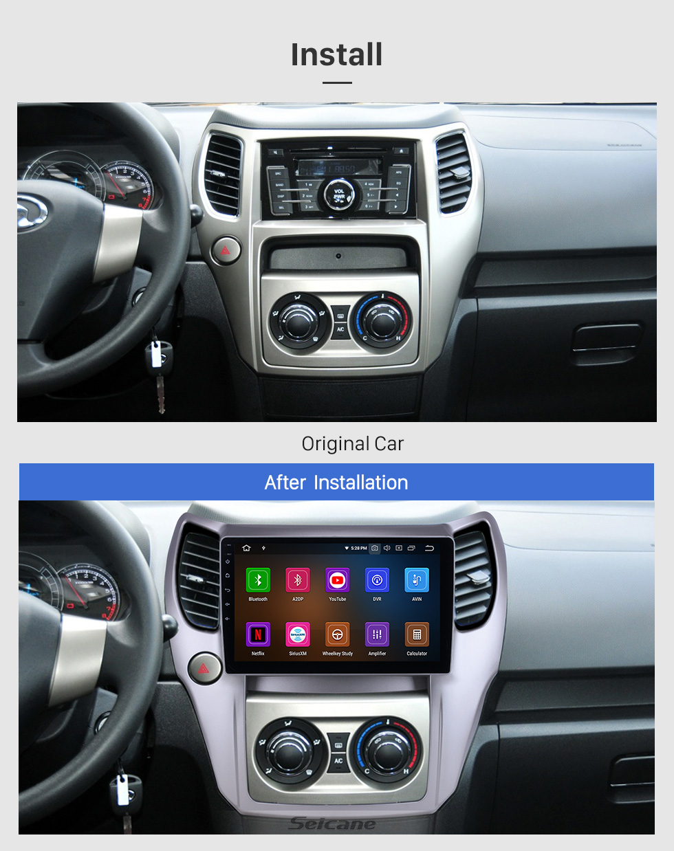 Seicane 10.1 inch For 2012 2013 Great Wall M4 Radio Android 9.0 GPS Navigation Bluetooth HD Touchscreen Carplay support OBD2