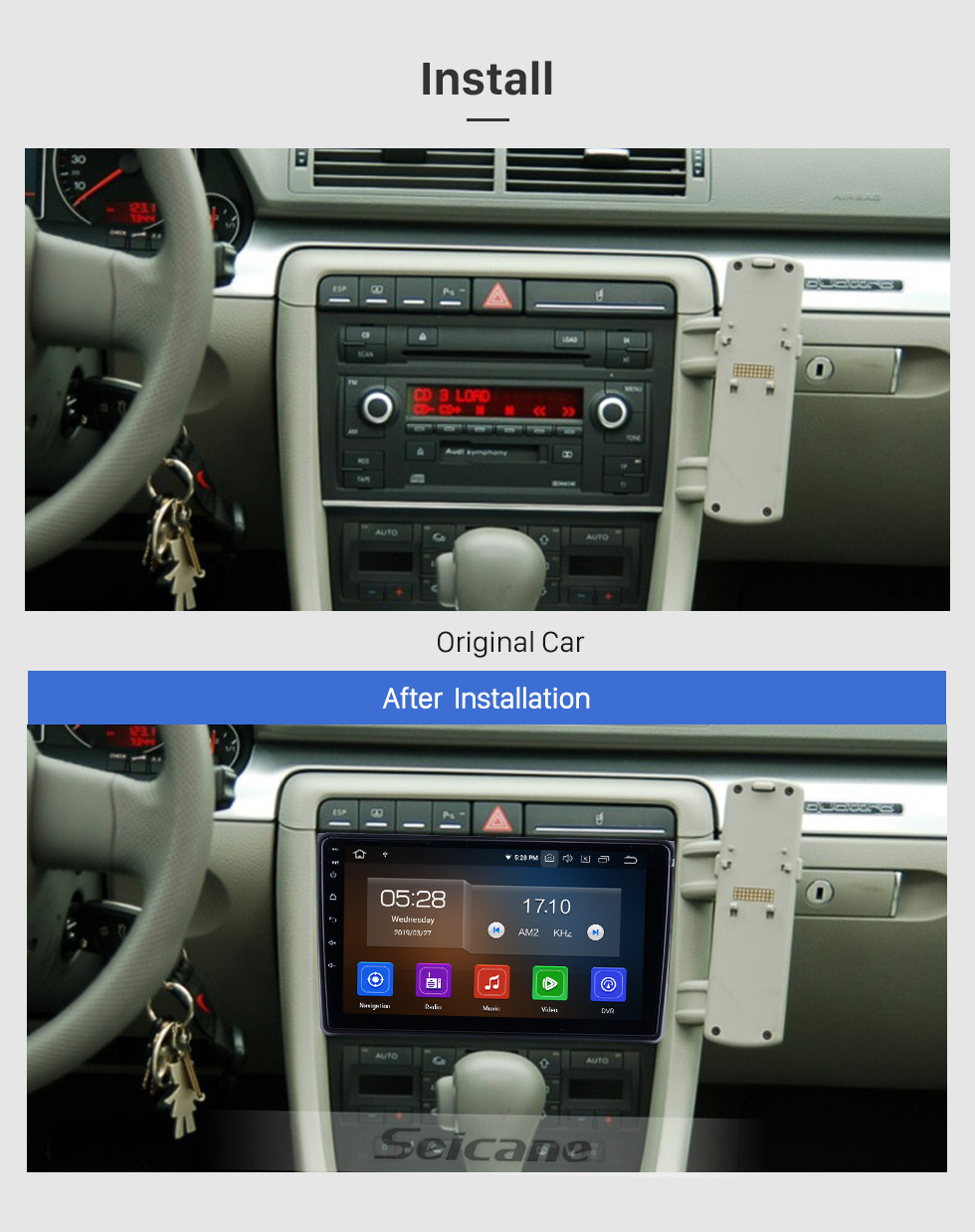 Seicane HD Touchscreen for 2002 2003 2004-2008 Audi A4 Radio Android 9.0 9 inch GPS Navigation Bluetooth WIFI Carplay support DVR DAB+