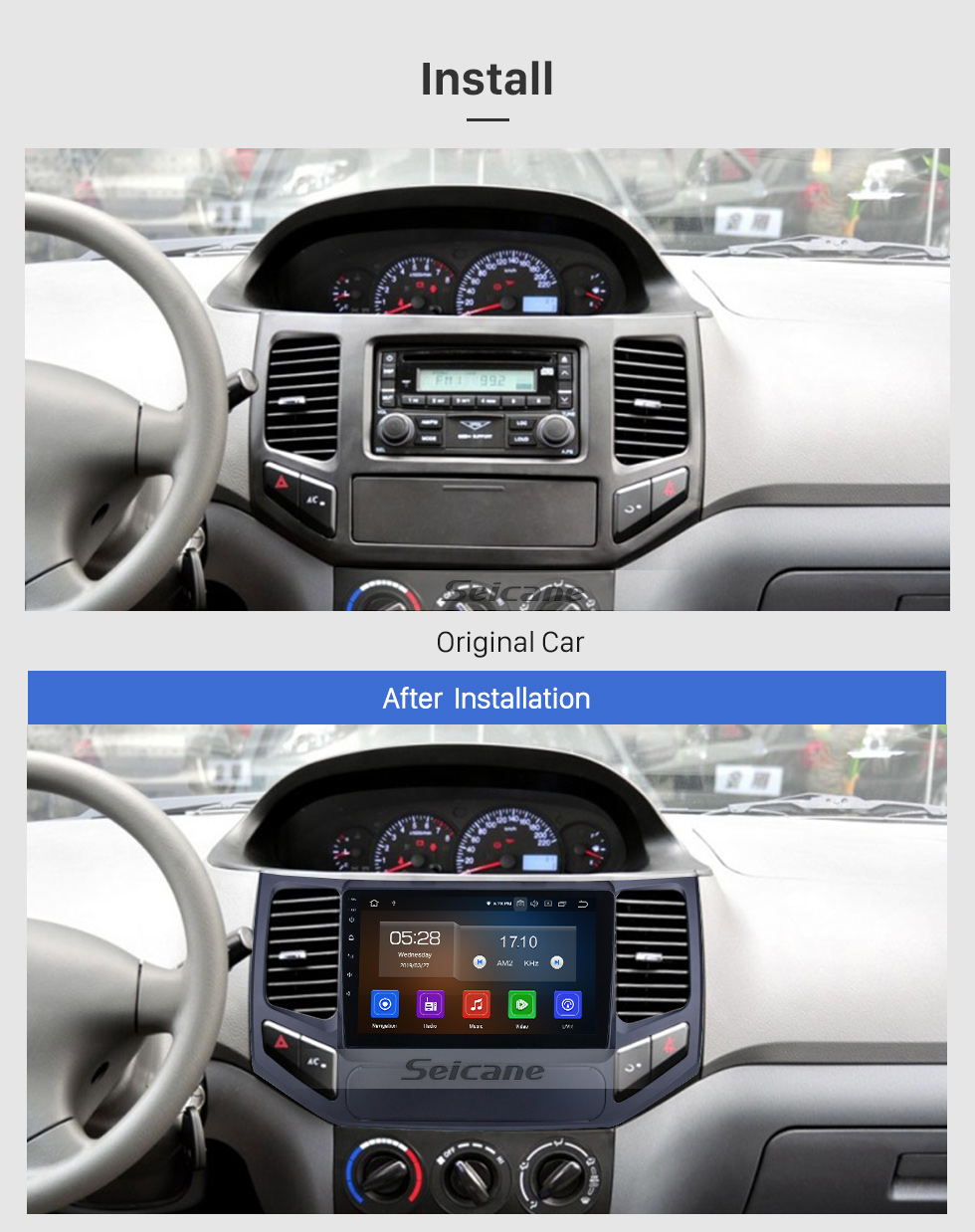 Seicane Android 9.0 für 2009 2010 Geely King Kong Radio 9 Zoll GPS Navigationssystem mit HD Touchscreen Carplay Bluetooth Unterstützung Digital TV