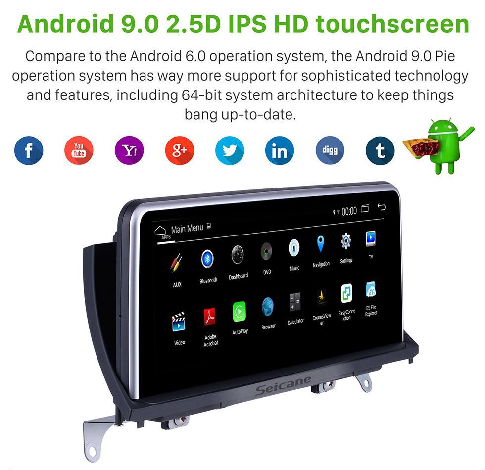 Seicane Для BMW X5 E70 / X6 E71 (2011-2014) CIC Radio 10,25-дюймовый Android 9.0 HD с сенсорным экраном GPS-навигация с поддержкой Bluetooth Carplay OBD2