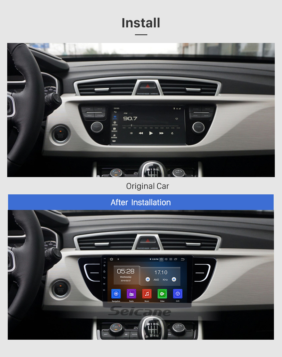 Seicane Android 9.0 für 2016 2017 2018 Geely Boyue Radio 9 Zoll GPS Navigation mit HD Touchscreen Carplay Bluetooth Unterstützung Digital TV